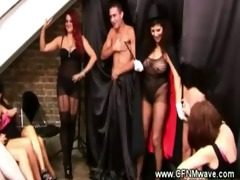 milfs in lingerie begin hot magic show