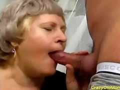bulky granny plays the throat organ previous to