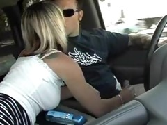 blondie wife and i in the car