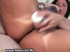 concupiscent busty older housewife satisfying