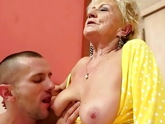breasty granny gets her hairy slit drilled