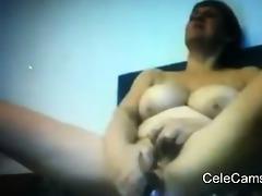 breasty granny cumming on web camera