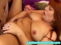 hot golden-haired granny copulates her redhead