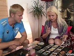 blond oldie sucks and rides his meaty shlong